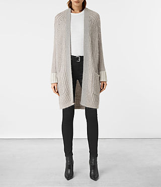 Mujer Egler Long Cardigan (Pastel Grey) - product_image_alt_text_1