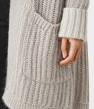 Women's Egler Long Cardigan (Pastel Grey) - product_image_alt_text_2