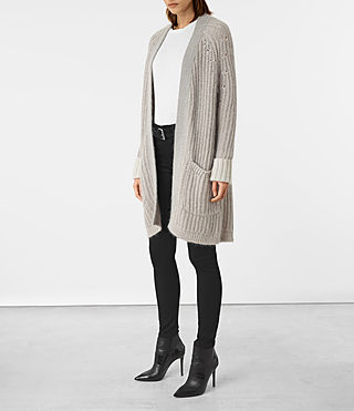 Women's Egler Long Cardigan (Pastel Grey) - product_image_alt_text_3