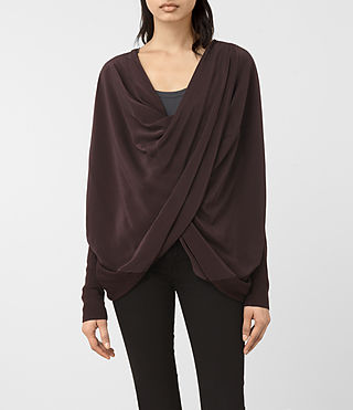 Mujer Silk Itat Shrug Cardigan (BORDEAUX RED)