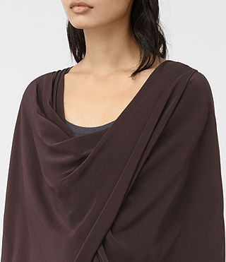 Damen Silk Itat Shrug Cardigan (BORDEAUX RED) - product_image_alt_text_2