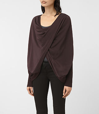 Damen Silk Itat Shrug Cardigan (BORDEAUX RED) - product_image_alt_text_3