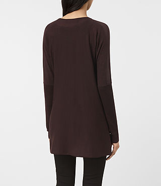 Damen Silk Itat Shrug Cardigan (BORDEAUX RED) - product_image_alt_text_4