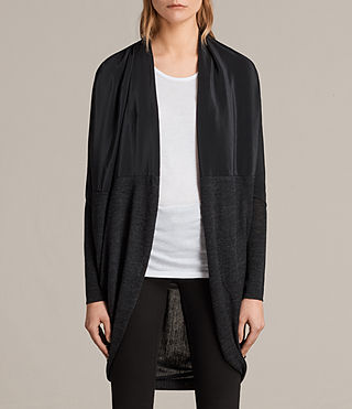 Damen Silk Itat Shrug Cardigan (Cinder Black Marl)