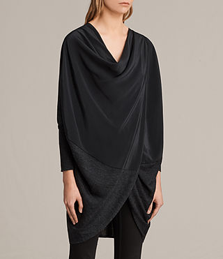 Womens Silk Itat Shrug Cardigan (Cinder Black Marl) - Image 2