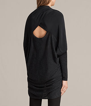 Womens Silk Itat Shrug Cardigan (Cinder Black Marl) - Image 3