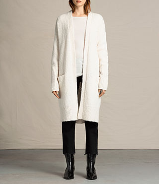 Womens Popcorn Cardigan (Chalk White)