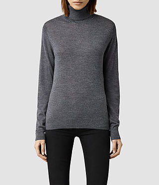 Womens Albar Roll Neck Sweater (Charcoal)
