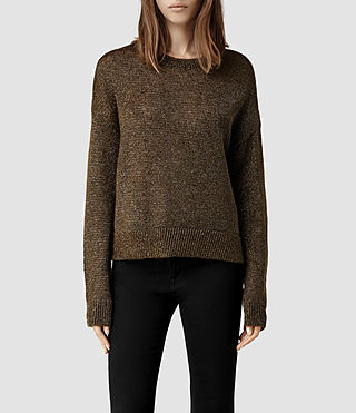 Womens Agnes Sweater (Olive/Gold)