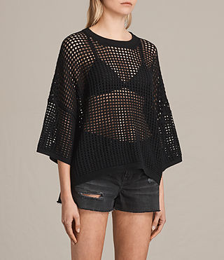 Damen Crosby Cropped Jumper (Black) - product_image_alt_text_2