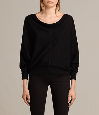 Women's Elgar Merino Cowl Neck Jumper (Black) - Image 1