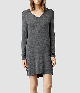 Womens Wasson Merino Sweater Dress (Charcoal Marl)
