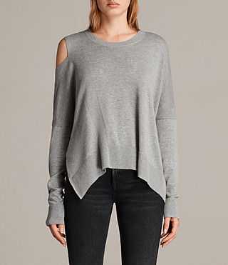 Mujer Cecily Crew Neck Sweater (Grey Marl) - product_image_alt_text_1