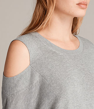 Women's Cecily Crew Neck Jumper (Grey Marl) - product_image_alt_text_2
