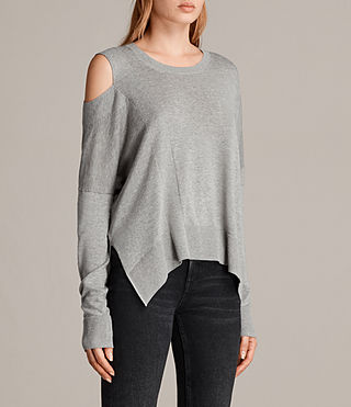 Women's Cecily Crew Neck Jumper (Grey Marl) - product_image_alt_text_3
