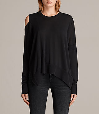 Mujer Cecily Crew Neck Sweater (Black) - product_image_alt_text_1