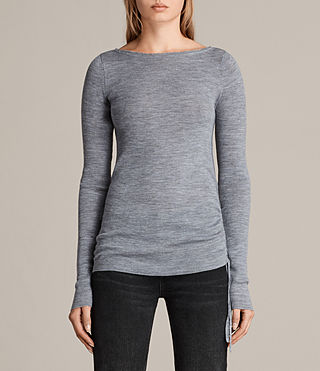 Women's Vana Crew Neck Top (Grey Marl) - Image 1