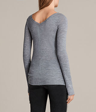 Women's Vana Crew Neck Top (Grey Marl) - Image 4