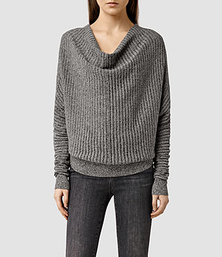 Womens Pelle Sweater (BLK/MIST GREY MARL)