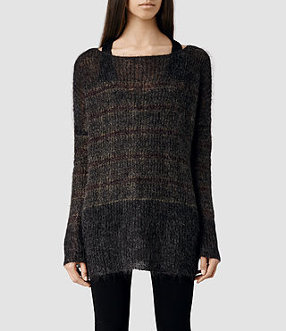 Womens Kaff Sweater (Burgundy/Khaki)