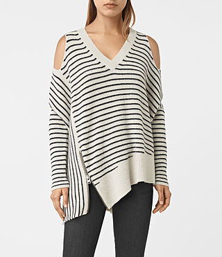 Mujer Able Stripe Open Shoulder Sweater (PORC WHT/INK BLUE)