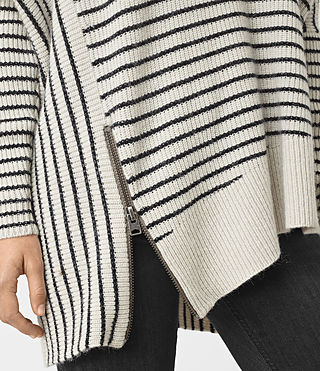 Womens Able Stripe Open Shoulder Sweater (PORC WHT/INK BLUE) - product_image_alt_text_2