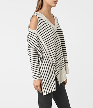 Mujer Able Stripe Open Shoulder Sweater (PORC WHT/INK BLUE) - product_image_alt_text_3