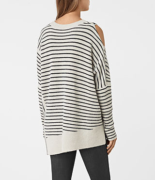 Mujer Able Stripe Open Shoulder Sweater (PORC WHT/INK BLUE) - product_image_alt_text_4