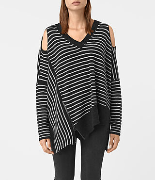 Donne Able Stripe Open Shoulder Jumper (CINDER BLACK/CHALK)
