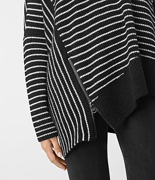 Women's Able Stripe Open Shoulder Jumper (CINDER BLACK/CHALK) - product_image_alt_text_2
