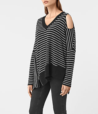 Women's Able Stripe Open Shoulder Jumper (CINDER BLACK/CHALK) - product_image_alt_text_3