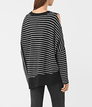 Women's Able Stripe Open Shoulder Jumper (CINDER BLACK/CHALK) - product_image_alt_text_4