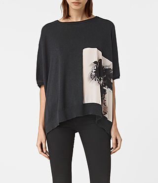 Damen Tulipa Knit Top (Cinder Black Marl)