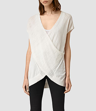 Womens Twist Sleeveless Sweater (Chalk White)