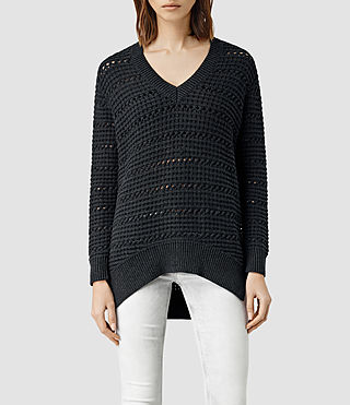 Womens Lota V Neck Sweater (CinderBlackMarl)