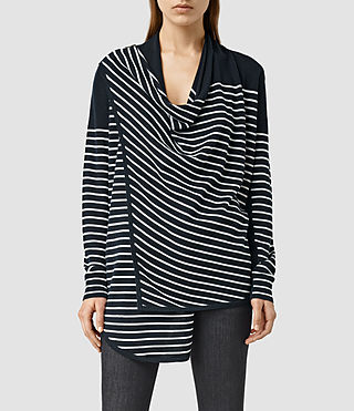 Womens Drina Striped Cardigan (Ink/Chalk)