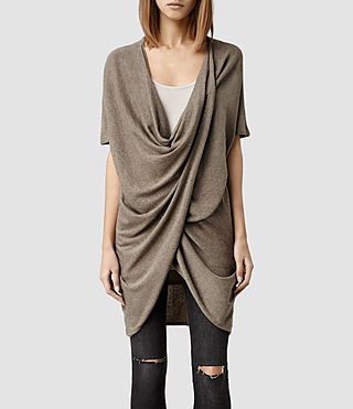 Womens Itat Reversible Knit Tee (Taupe Marl)