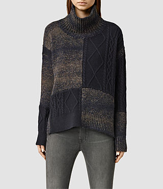 Womens Kane Roll Neck Sweater (INK NAVY/FAWN BRWN)