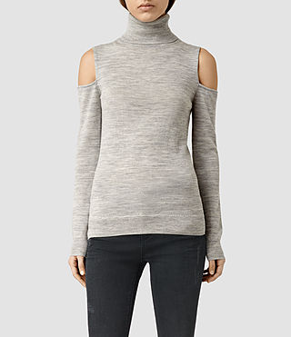 Womens Albar Open Shoulder Roll Neck Jumper (MIRAGE GREY)