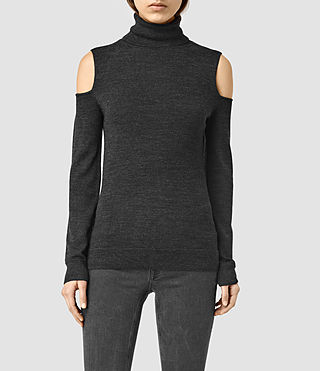 Womens Albar Open Shoulder Roll Neck Sweater (CinderBlackMarl)