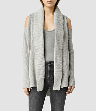 Womens Able Open Shoulder Cardigan (MarbleGrey)