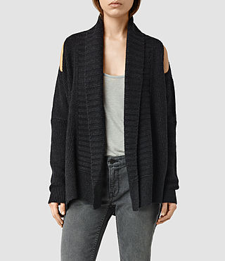 Mujer Able Open Shoulder Cardigan (CinderBlackMarl) - product_image_alt_text_1