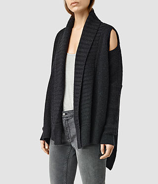 Mujer Able Open Shoulder Cardigan (CinderBlackMarl) - product_image_alt_text_2
