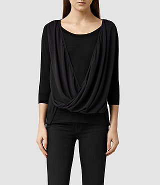 Womens Taybar Sheer Cowl Sweater (Black)