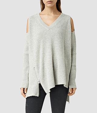 Womens Able Open Shoulder Sweater (Marble Grey)