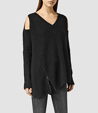 Femmes Able Open Shoulder Jumper (Cinder Black Marl)