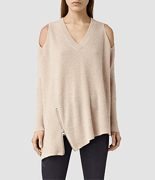 Womens Able Open Shoulder Sweater (Quartz Pink)