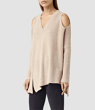 Womens Able Open Shoulder Sweater (Quartz Pink) - product_image_alt_text_2