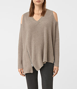 Womens Able Open Shoulder Sweater (LUNAR GREY)