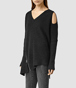 Womens Able Open Shoulder Sweater (CinderBlackMarl) - product_image_alt_text_2